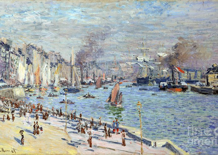 Claude Greeting Card featuring the painting Port Of Le Havre by Claude Monet
