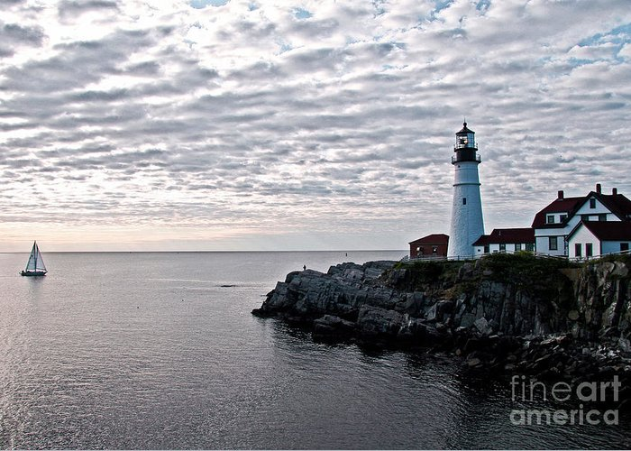 Portland Headlight Greeting Card featuring the photograph Portland Head Light by Brenda Giasson