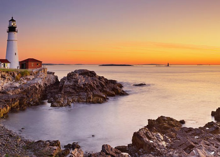 Water's Edge Greeting Card featuring the photograph Portland Head Lighthouse, Maine, Usa At by Sara winter