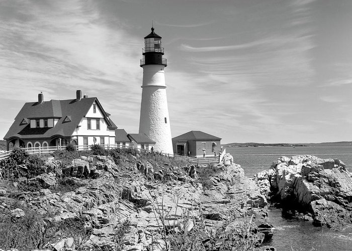 Portland Greeting Card featuring the photograph Portland Head Lighthouse by Mike McGlothlen