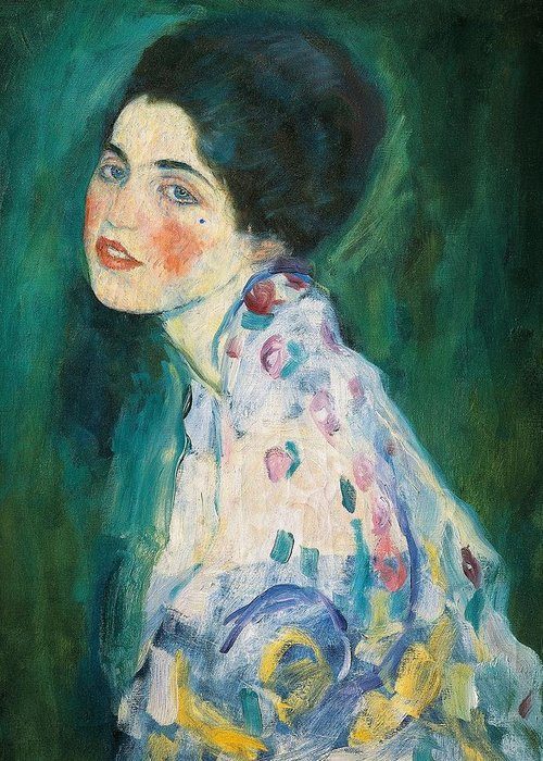 Female Greeting Card featuring the painting Portrait Of A Young Woman by Gustav Klimt