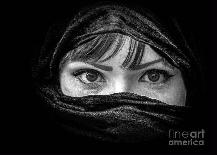 Allah Greeting Card featuring the photograph Portrait Of Beautiful Arab Woman With Brown Eyes Wearing Black S by Aleksandar Mijatovic