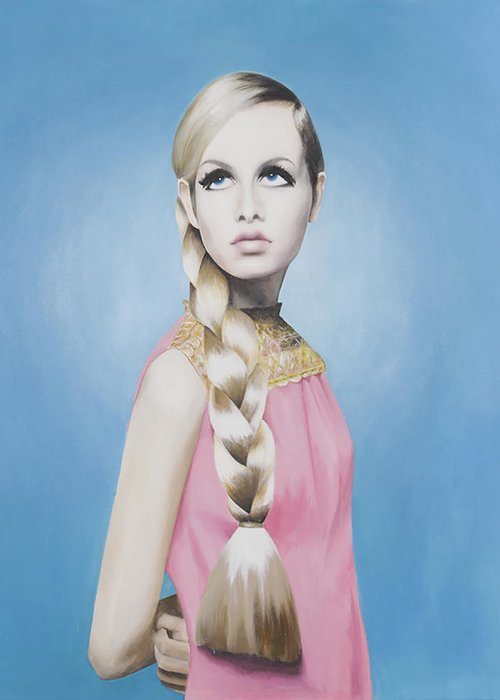 Twiggy Greeting Card featuring the painting Portrait Of Twiggy by Moe Notsu