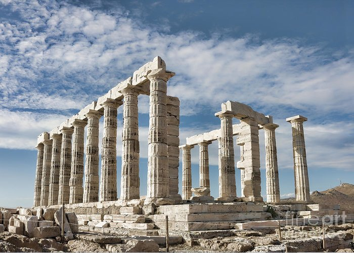 Ancient Greeting Card featuring the photograph Poseidon's Temple by Gabriela Insuratelu