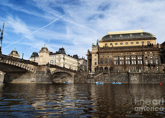 Prague Greeting Card featuring the pyrography Prague From Vltava by Jelena Jovanovic