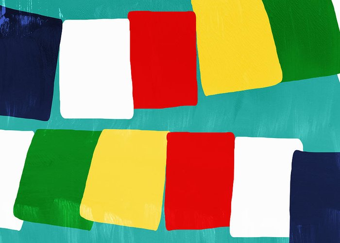 Flags Greeting Card featuring the painting Prayer Flags by Linda Woods