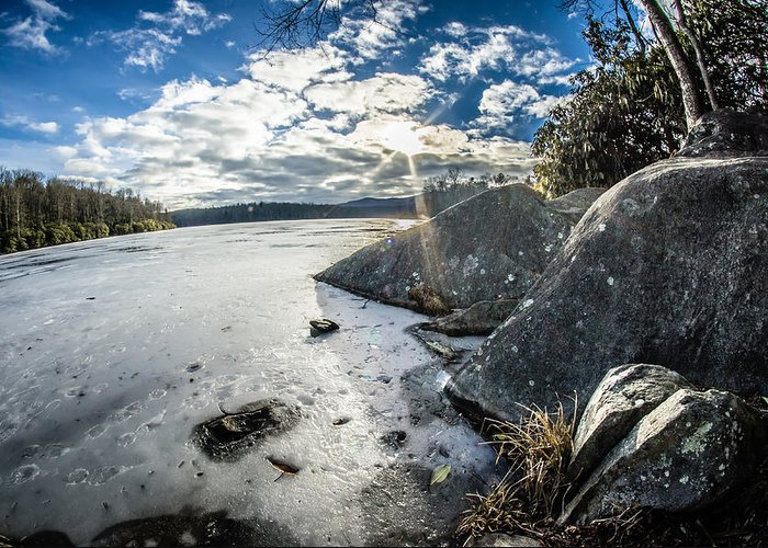 Price Lake Greeting Card featuring the photograph Price Lake Frozen Over During Winter Months In North Carolina by Alex Grichenko