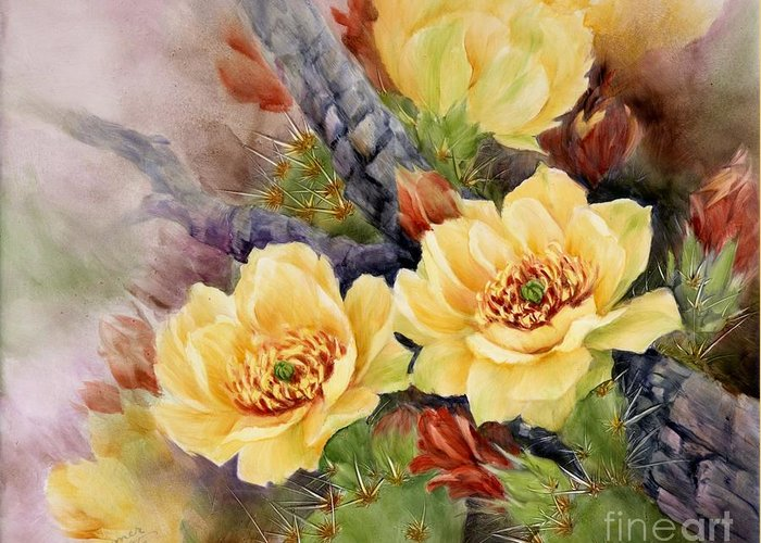 Cactus Greeting Card featuring the painting Prickly Pear In Bloom by Summer Celeste