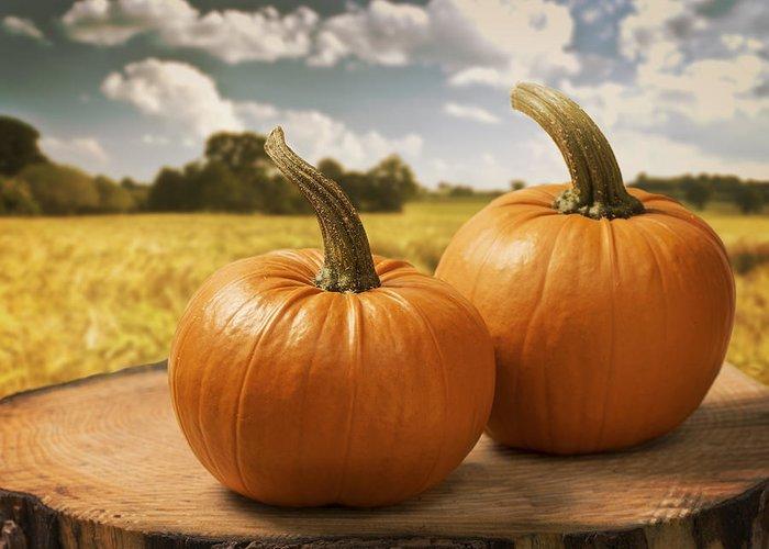 Pumpkin Greeting Card featuring the photograph Pumpkins by Amanda Elwell