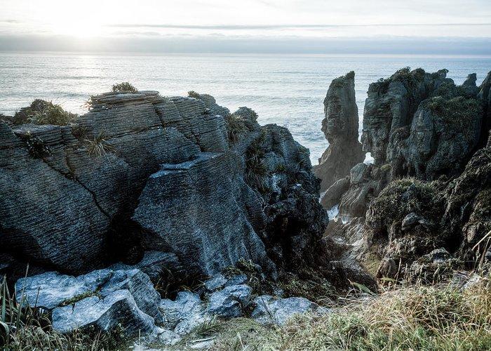 Rock Greeting Card featuring the photograph Punakaiki Pancake Rocks by Alexey Stiop