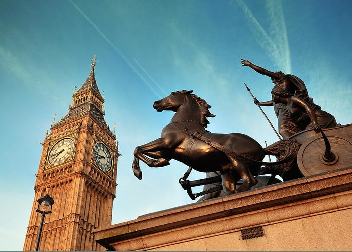 London Greeting Card featuring the photograph Queen Bodica Statue In London by Songquan Deng