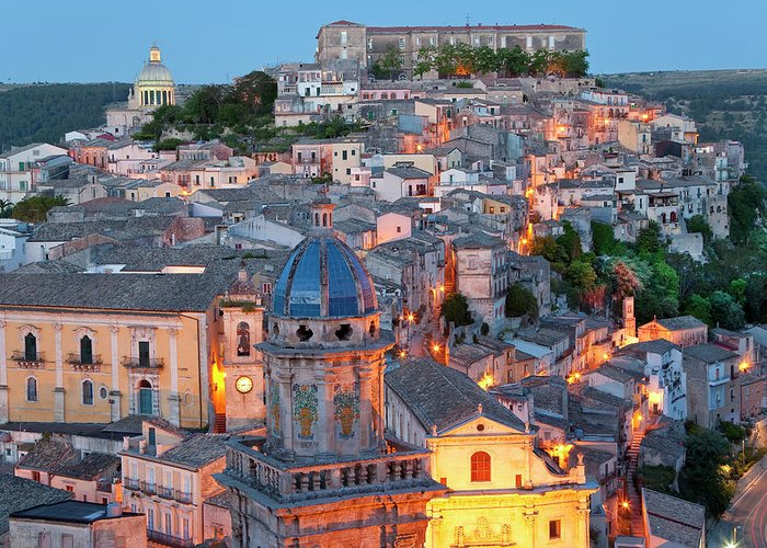 Architecture Greeting Card featuring the photograph Ragusa At Dusk, Sicily, Italy by Peter Adams