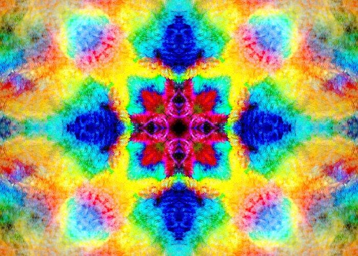 Rainbow Greeting Card featuring the photograph Rainbow Light Mandala by Susan Bloom