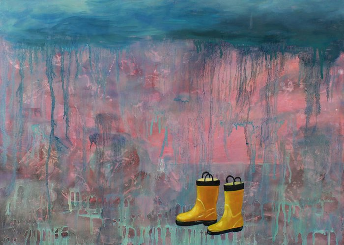 Rain Greeting Card featuring the painting Rainy Day Galoshes by Guenevere Schwien