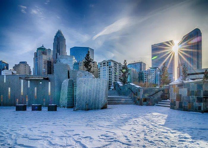 Rare Greeting Card featuring the photograph Rare Winter Scenery Around Charlotte North Carolina by Alex Grichenko