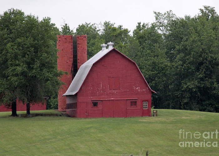 Red Barn Greeting Card featuring the photograph barn in Kentucky no 9 by Dwight Cook