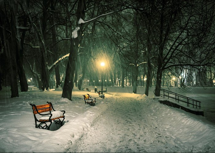 Background Greeting Card featuring the photograph Red Bench In The Park by Jaroslaw Grudzinski