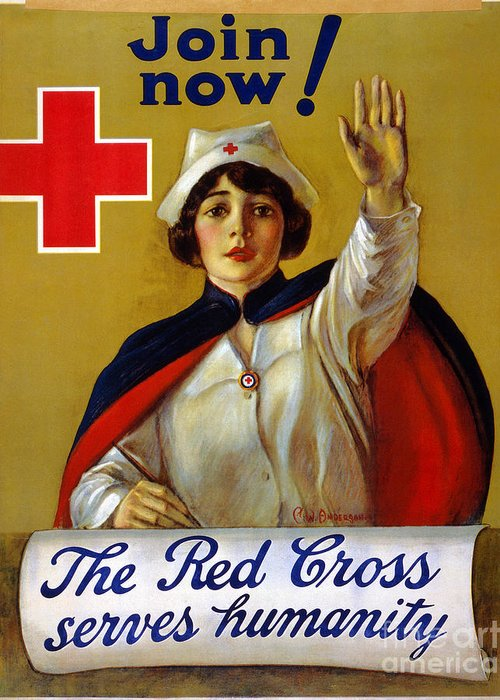 1917 Greeting Card featuring the photograph Red Cross Poster, C1917 by Granger
