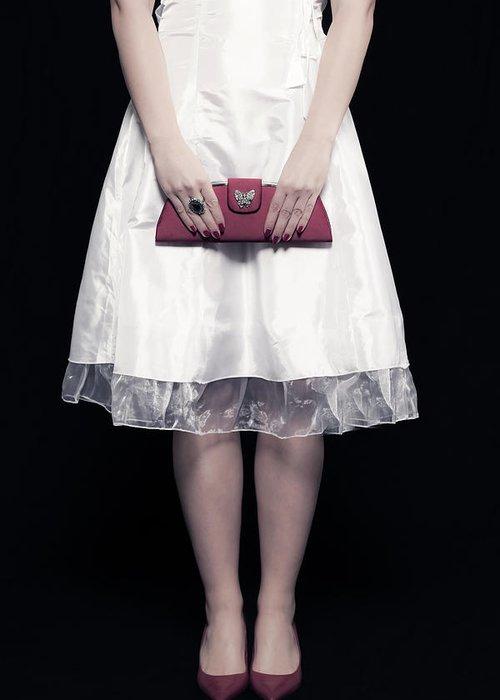 Woman Greeting Card featuring the photograph Red Handbag by Joana Kruse