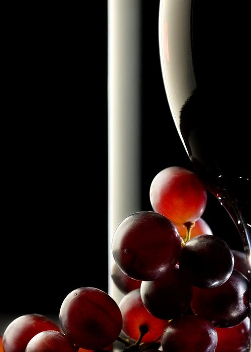 Reflection Greeting Card featuring the photograph Red Wine With Grapes by Johan Swanepoel