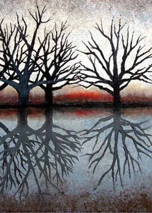Tree Greeting Card featuring the painting Reflecting Trees by Janet King