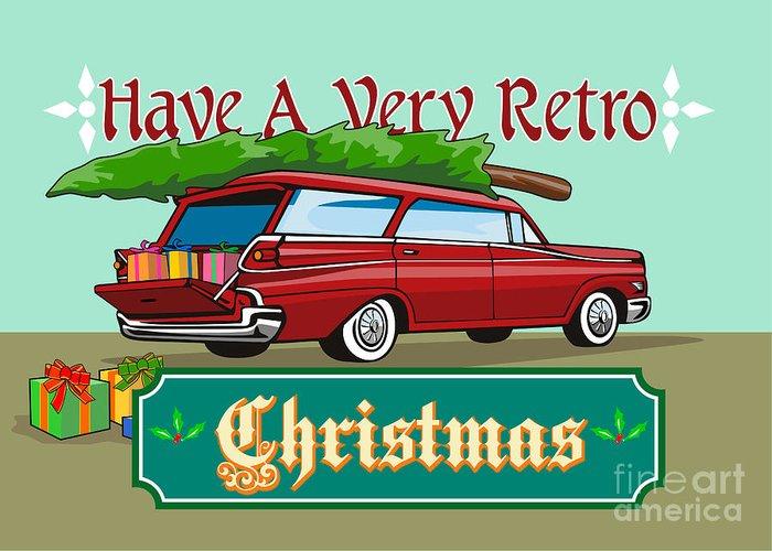 Christmas Greeting Card featuring the digital art Retro Christmas Tree Station Wagon by Aloysius Patrimonio
