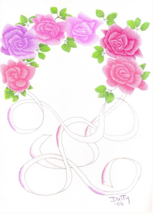 Rose Greeting Card featuring the drawing Ribbons Of Roses by Dusty Reed