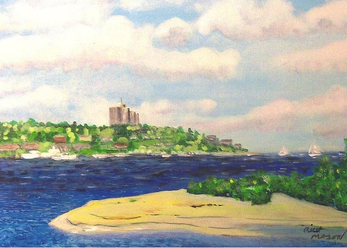 Highlands Nj Shrewsbury River Sandy Hook Bay High Rise Apt On Hill Top Greeting Card featuring the painting River Meets Bay by Rich Mason
