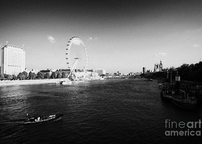 River Greeting Card featuring the photograph river thames london eye shell tower and south bank London England UK by Joe Fox