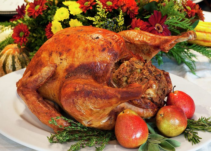 Stuffed Greeting Card featuring the photograph Roast Turkey by Tetra Images