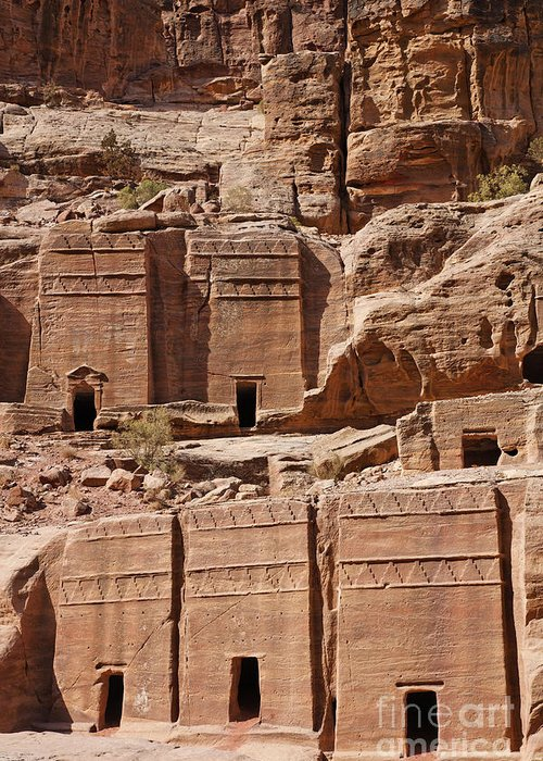 Tombs Greeting Card featuring the photograph Rock Cut Tombs On The Street Of Facades Petra Jordan by Robert Preston