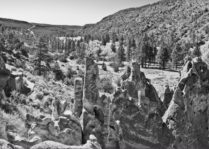 Eroded Rock Greeting Card featuring the photograph Rock Garden At Bandelier Bw by Alan Tonnesen