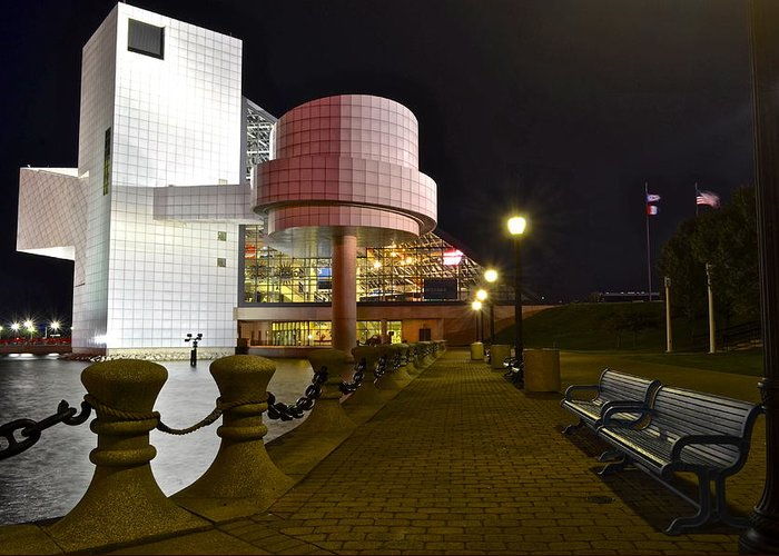 Rock Greeting Card featuring the photograph Rock N Roll Hall Of Fame by Frozen in Time Fine Art Photography