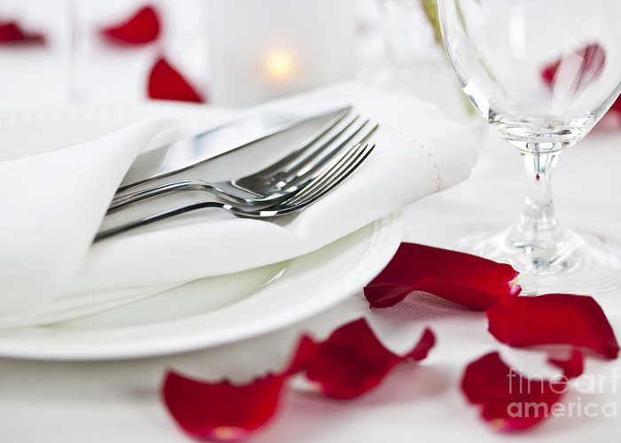 Romantic Greeting Card featuring the photograph Romantic Dinner Setting With Rose Petals by Elena Elisseeva
