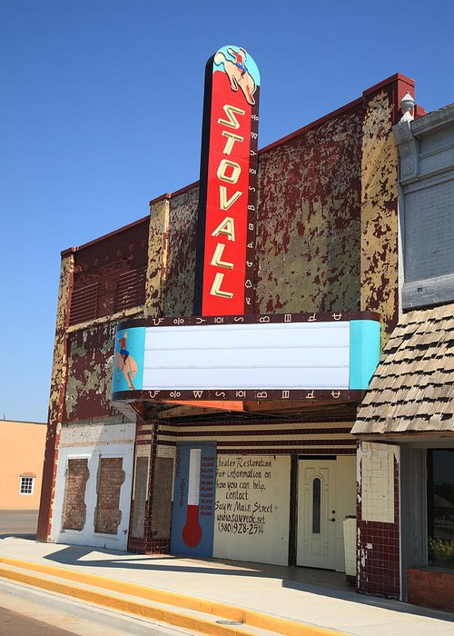 66 Greeting Card featuring the photograph Route 66 - Stovall Theater by Frank Romeo