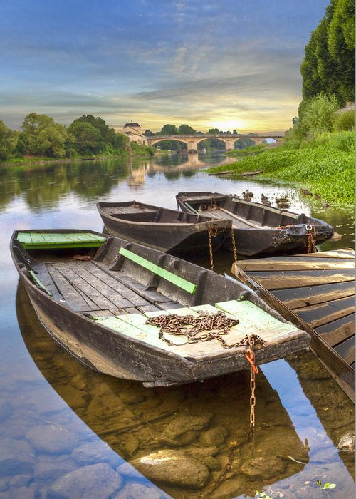 Boats Greeting Card featuring the photograph Rowboats On The French Canals by Debra and Dave Vanderlaan