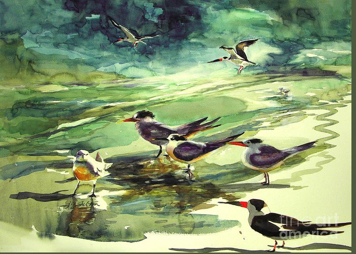 Watercolor Greeting Card featuring the painting Royal Terns And Black Skimmers by Julianne Felton