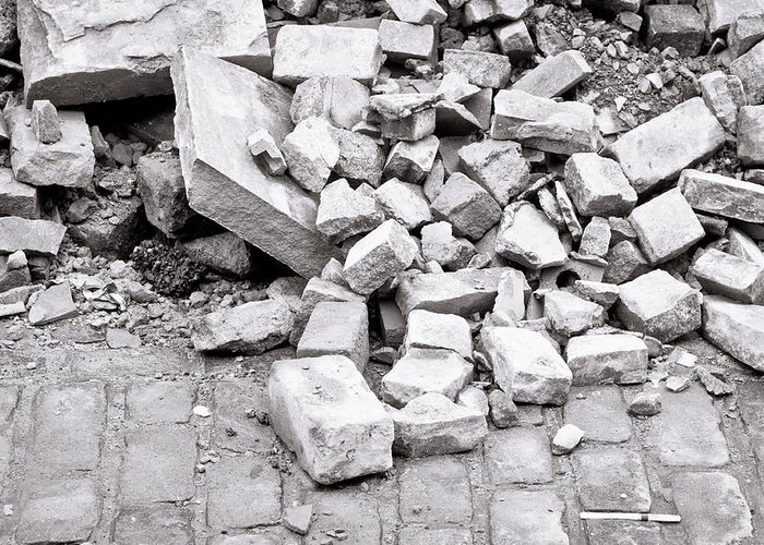 Abstract Greeting Card featuring the photograph Rubble by Tom Gowanlock