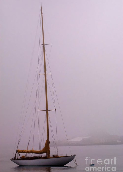 Oil Greeting Card featuring the photograph Sailboat In Fog by Richard Patrick