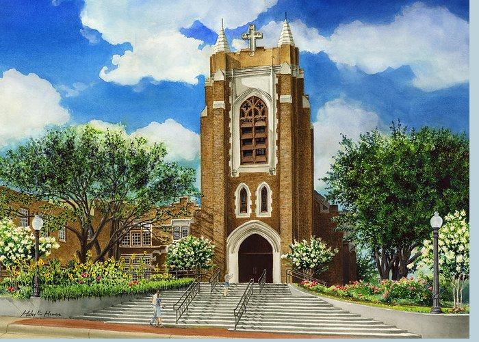 Saint Andrew's Episcopal Church Greeting Card featuring the painting Saint Andrews Episcopal Church Bryan Texas by Hailey E Herrera