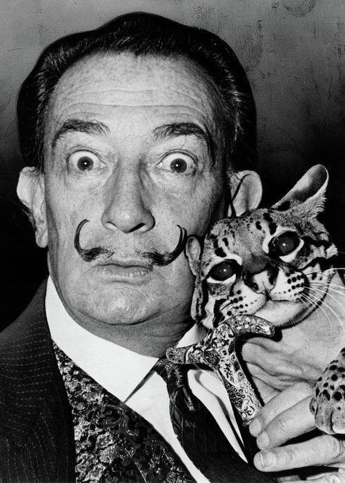 1965 Greeting Card featuring the photograph Salvador Dali (1904-1989) by Granger