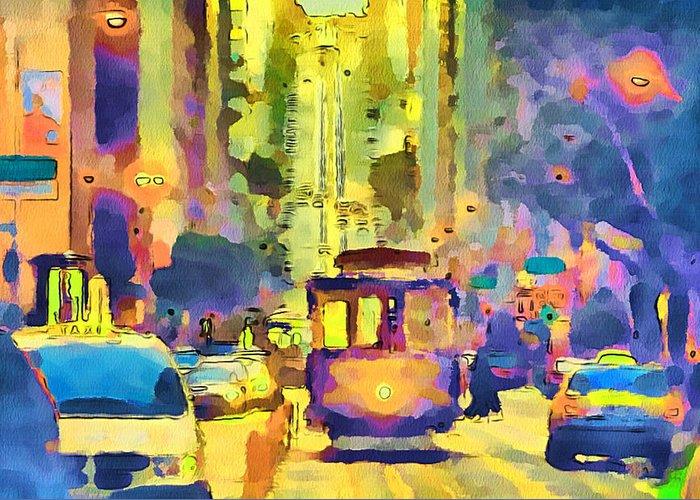 San Greeting Card featuring the digital art San Francisco Trams 12 by Yury Malkov