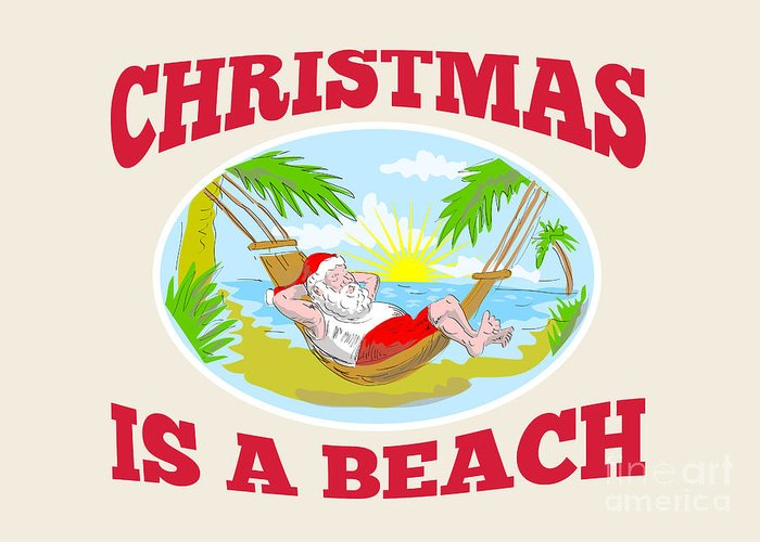 Santa Claus Greeting Card featuring the digital art Santa Claus Father Christmas Beach Relaxing by Aloysius Patrimonio