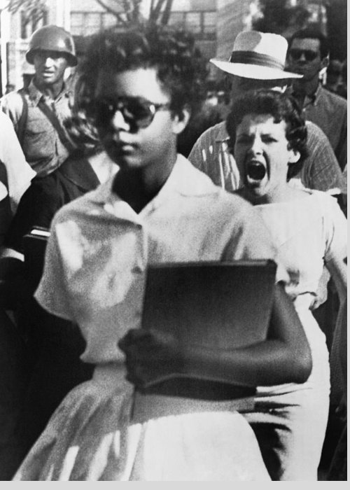 1957 Greeting Card featuring the photograph School Desegregation, 1957 by Granger