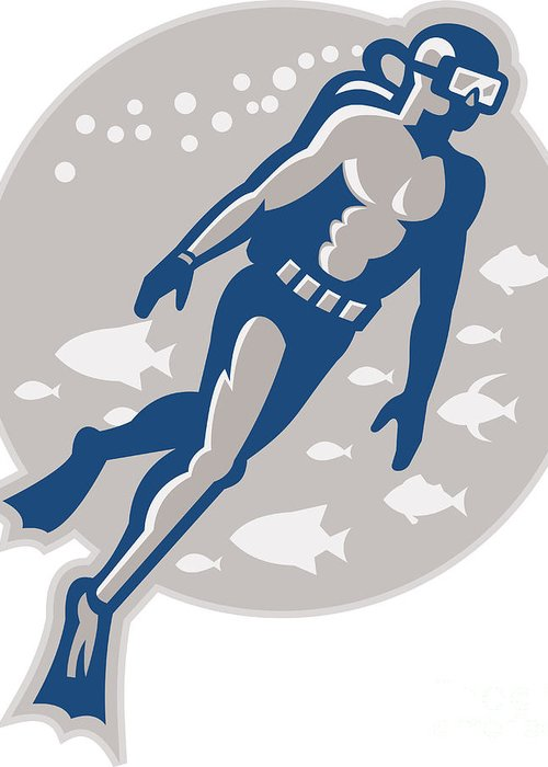 Scuba Greeting Card featuring the digital art Scuba Diver Diving Retro by Aloysius Patrimonio