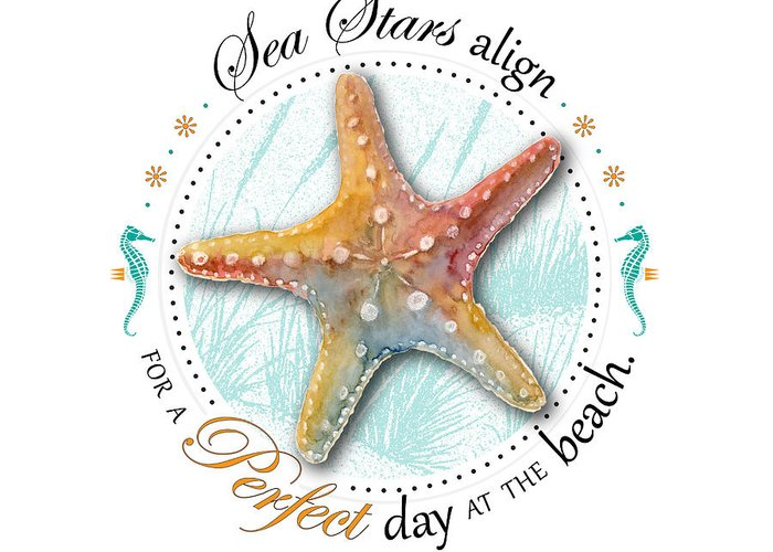 Seashell Greeting Card featuring the digital art Sea Stars Align For A Perfect Day At The Beach by Amy Kirkpatrick