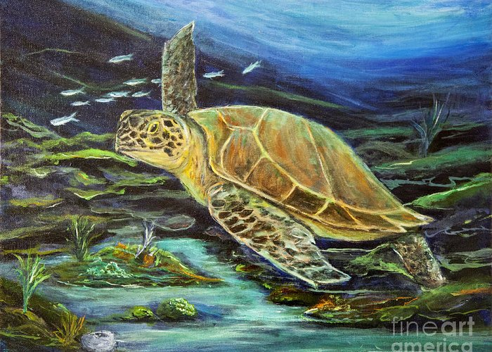 Seascape Greeting Card featuring the painting Sea Turtle by Mike McCaughin