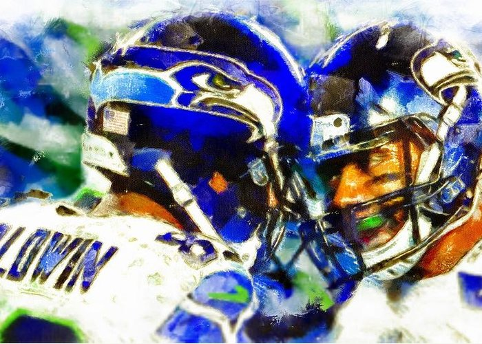 Seattle Seahawk Stars Greeting Card featuring the digital art Seahawk Stars by Carrie OBrien Sibley