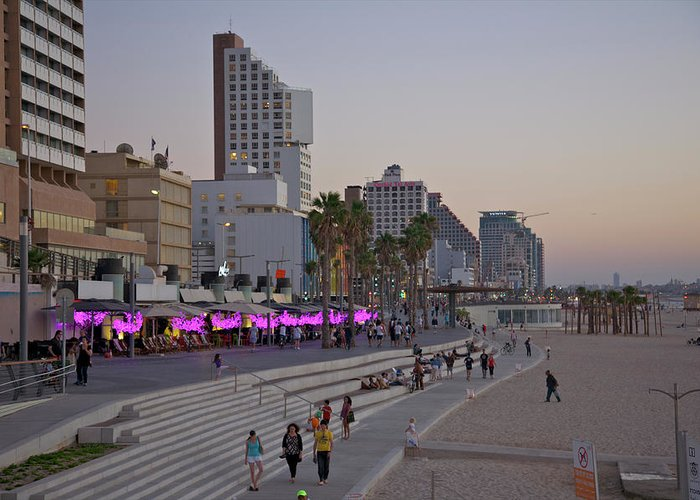 People Greeting Card featuring the photograph Seaside Promenade Of Tel Aviv At Dusk by Barry Winiker