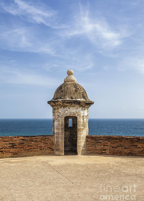 Built Structure Greeting Card featuring the photograph Sentry Box In Old San Juan Puerto Rico by Bryan Mullennix